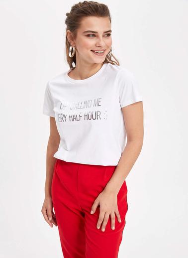 DeFacto Slogan Baskılı Kısa Kollu T-shirt Beyaz